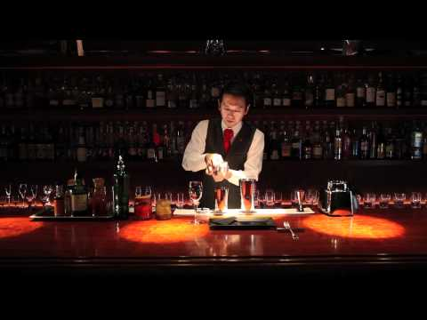 Japanese bartender making a Bloody Sam