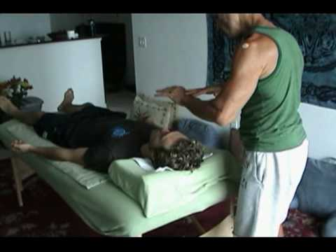Alan Pratt using energy healing humans and a dog