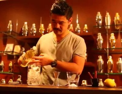Mustached Bartender Makes A Mizunara Old Fashioned