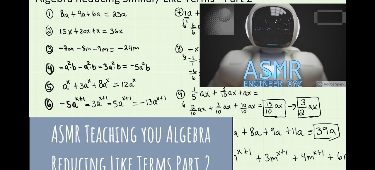[ASMR] Teaching you Algebra Reducing Similar Like Terms Part 2